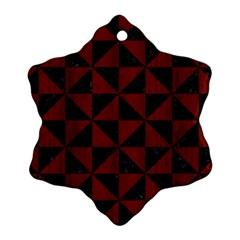 Triangle1 Black Marble & Reddish Brown Wood Snowflake Ornament (two Sides) by trendistuff