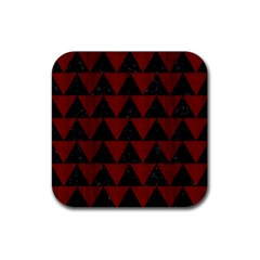 Triangle2 Black Marble & Reddish Brown Wood Rubber Square Coaster (4 Pack)  by trendistuff