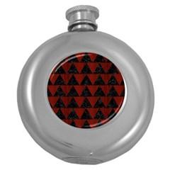 Triangle2 Black Marble & Reddish Brown Wood Round Hip Flask (5 Oz) by trendistuff
