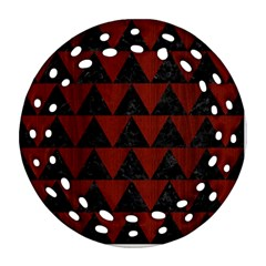 Triangle2 Black Marble & Reddish Brown Wood Ornament (round Filigree) by trendistuff