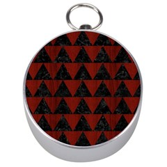 Triangle2 Black Marble & Reddish Brown Wood Silver Compasses by trendistuff
