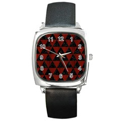 Triangle3 Black Marble & Reddish Brown Wood Square Metal Watch by trendistuff