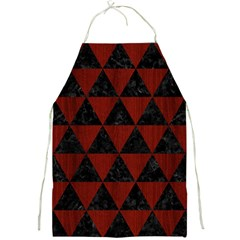 Triangle3 Black Marble & Reddish Brown Wood Full Print Aprons by trendistuff