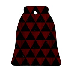 Triangle3 Black Marble & Reddish Brown Wood Bell Ornament (two Sides) by trendistuff