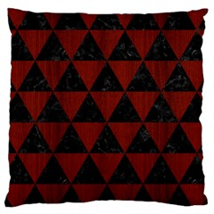 Triangle3 Black Marble & Reddish Brown Wood Large Cushion Case (two Sides) by trendistuff