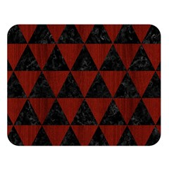 Triangle3 Black Marble & Reddish Brown Wood Double Sided Flano Blanket (large)  by trendistuff