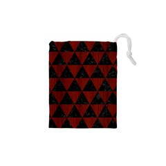 Triangle3 Black Marble & Reddish Brown Wood Drawstring Pouches (xs)  by trendistuff