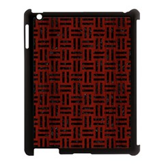 Woven1 Black Marble & Reddish Brown Wood Apple Ipad 3/4 Case (black) by trendistuff