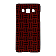 Woven1 Black Marble & Reddish Brown Wood Samsung Galaxy A5 Hardshell Case  by trendistuff