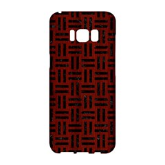 Woven1 Black Marble & Reddish Brown Wood Samsung Galaxy S8 Hardshell Case