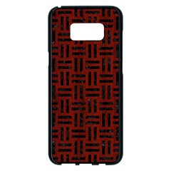 Woven1 Black Marble & Reddish Brown Wood Samsung Galaxy S8 Plus Black Seamless Case