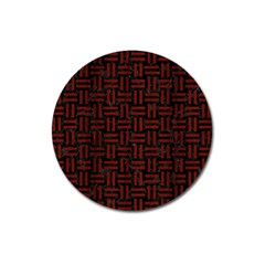 Woven1 Black Marble & Reddish Brown Wood (r) Magnet 3  (round) by trendistuff