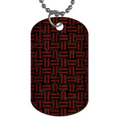 Woven1 Black Marble & Reddish Brown Wood (r) Dog Tag (two Sides) by trendistuff