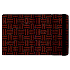 Woven1 Black Marble & Reddish Brown Wood (r) Apple Ipad 3/4 Flip Case by trendistuff