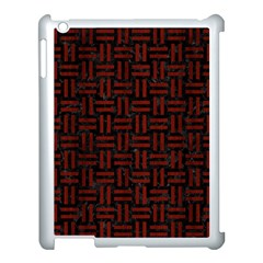 Woven1 Black Marble & Reddish Brown Wood (r) Apple Ipad 3/4 Case (white) by trendistuff