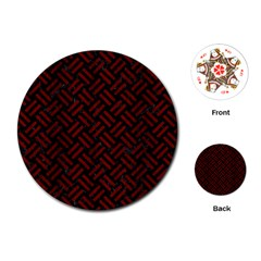 Woven2 Black Marble & Reddish Brown Wood (r) Playing Cards (round)  by trendistuff