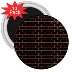 Brick1 Black Marble & Rusted Metal (r) 3  Magnets (10 Pack)  by trendistuff