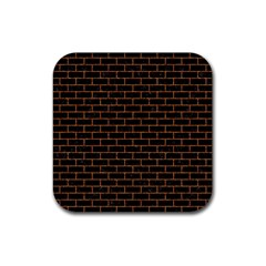 Brick1 Black Marble & Rusted Metal (r) Rubber Square Coaster (4 Pack)  by trendistuff