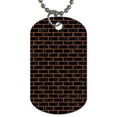 Brick1 Black Marble & Rusted Metal (r) Dog Tag (one Side) by trendistuff