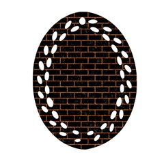 Brick1 Black Marble & Rusted Metal (r) Oval Filigree Ornament (two Sides) by trendistuff