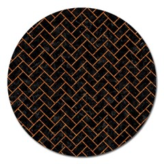 Brick2 Black Marble & Rusted Metal (r) Magnet 5  (round) by trendistuff