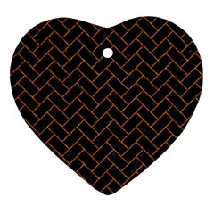 Brick2 Black Marble & Rusted Metal (r) Heart Ornament (two Sides) by trendistuff