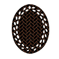 Brick2 Black Marble & Rusted Metal (r) Oval Filigree Ornament (two Sides) by trendistuff