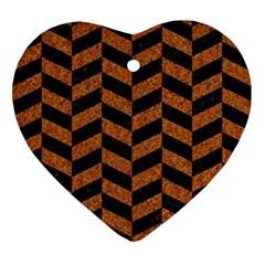 Chevron1 Black Marble & Rusted Metal Ornament (heart) by trendistuff