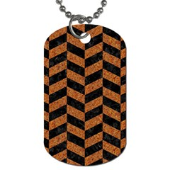 Chevron1 Black Marble & Rusted Metal Dog Tag (two Sides) by trendistuff