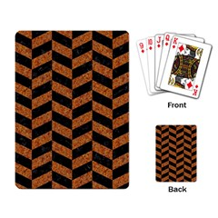 Chevron1 Black Marble & Rusted Metal Playing Card by trendistuff