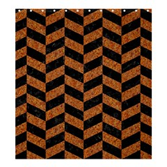 Chevron1 Black Marble & Rusted Metal Shower Curtain 66  X 72  (large)  by trendistuff