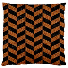 Chevron1 Black Marble & Rusted Metal Large Cushion Case (one Side) by trendistuff