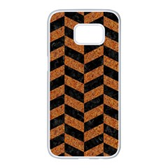 Chevron1 Black Marble & Rusted Metal Samsung Galaxy S7 Edge White Seamless Case by trendistuff
