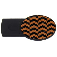 Chevron2 Black Marble & Rusted Metal Usb Flash Drive Oval (2 Gb) by trendistuff