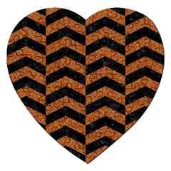Chevron2 Black Marble & Rusted Metal Jigsaw Puzzle (heart) by trendistuff