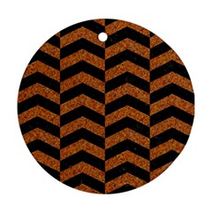 Chevron2 Black Marble & Rusted Metal Round Ornament (two Sides) by trendistuff