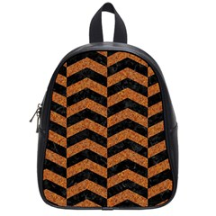 Chevron2 Black Marble & Rusted Metal School Bag (small) by trendistuff