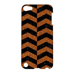 Chevron2 Black Marble & Rusted Metal Apple Ipod Touch 5 Hardshell Case by trendistuff