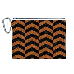 Chevron2 Black Marble & Rusted Metal Canvas Cosmetic Bag (l) by trendistuff