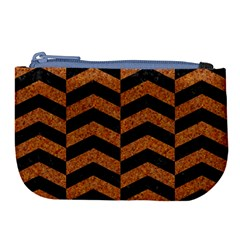 Chevron2 Black Marble & Rusted Metal Large Coin Purse by trendistuff