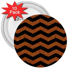 Chevron3 Black Marble & Rusted Metal 3  Buttons (10 Pack)  by trendistuff