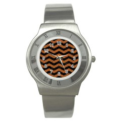 Chevron3 Black Marble & Rusted Metal Stainless Steel Watch by trendistuff