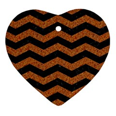 Chevron3 Black Marble & Rusted Metal Heart Ornament (two Sides) by trendistuff