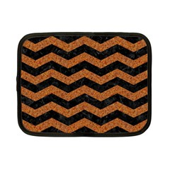 Chevron3 Black Marble & Rusted Metal Netbook Case (small)  by trendistuff