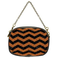 Chevron3 Black Marble & Rusted Metal Chain Purses (one Side)  by trendistuff