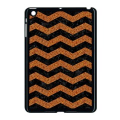 Chevron3 Black Marble & Rusted Metal Apple Ipad Mini Case (black) by trendistuff