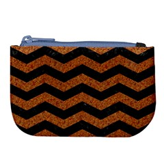 Chevron3 Black Marble & Rusted Metal Large Coin Purse by trendistuff