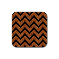 Chevron9 Black Marble & Rusted Metal Rubber Square Coaster (4 Pack)  by trendistuff