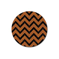 Chevron9 Black Marble & Rusted Metal Magnet 3  (round) by trendistuff