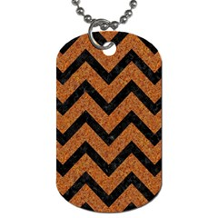 Chevron9 Black Marble & Rusted Metal Dog Tag (one Side) by trendistuff